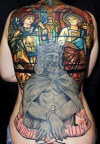 Cool idea of jesus tattoo on whole back